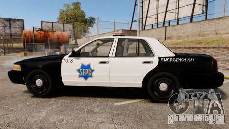Ford Crown Victoria San Francisco Police [ELS] для GTA 4 вид слева