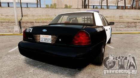 Ford Crown Victoria San Francisco Police [ELS] для GTA 4 вид сзади слева