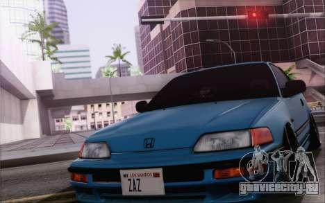 Honda CRX Low Gang для GTA San Andreas вид изнутри