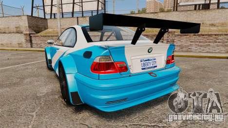 BMW M3 GTR 2012 Most Wanted v1.1 для GTA 4 вид сзади слева