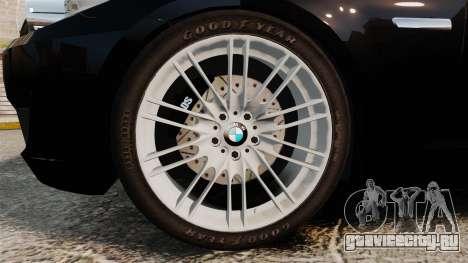 BMW M5 F10 2012 Unmarked Police [ELS] для GTA 4 вид сзади