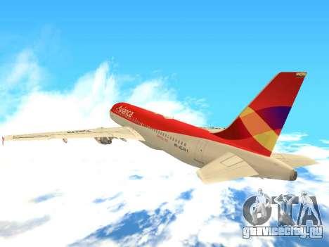 Airbus A320 Avianca Columbia для GTA San Andreas вид сзади