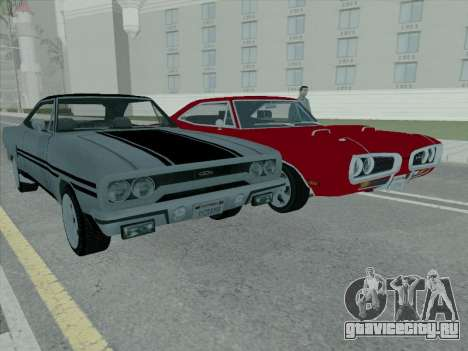 Plymouth Road RunneR GTX 1970 для GTA San Andreas вид изнутри