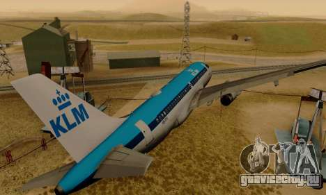 Airbus A319 KLM для GTA San Andreas вид справа