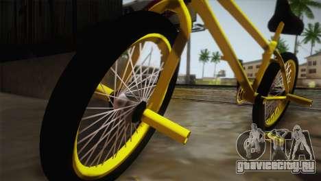 New BMX Yellow для GTA San Andreas вид сзади слева