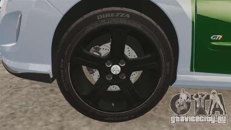 Peugeot 308 GTi 2011 Guardia Civil для GTA 4 вид сзади