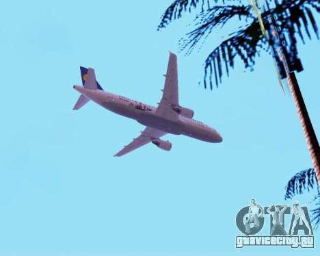 Airbus A320-200 Lufthansa для GTA San Andreas вид снизу