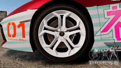 Lamborghini Aventador LP700-4 2012 [EPM] Miku 2 для GTA 4 вид сзади