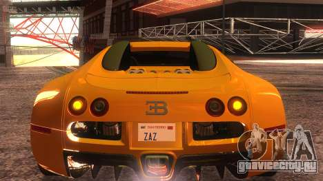 Bugatti Veyron 2009 для GTA San Andreas вид изнутри