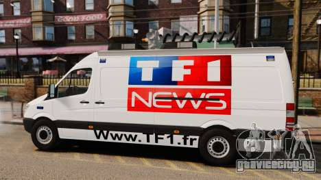 Mercedes-Benz Sprinter TF1 News [ELS] для GTA 4 вид слева