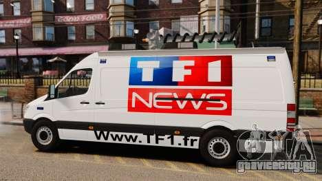 Mercedes-Benz Sprinter TF1 News [ELS] для GTA 4 вид слева