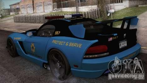 Dodge Viper SRT 10 ACR Police Car для GTA San Andreas вид сзади слева