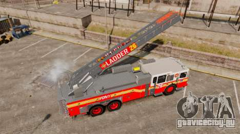 Ferrara 100 Aerial Ladder FDNY [working ladder] для GTA 4 вид сзади
