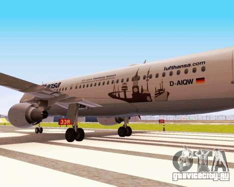Airbus A320-200 Lufthansa для GTA San Andreas вид сзади