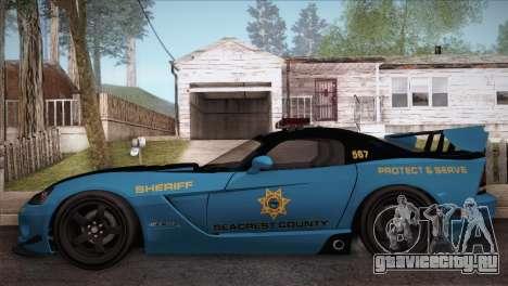 Dodge Viper SRT 10 ACR Police Car для GTA San Andreas вид слева