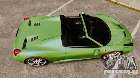 Ferrari 458 Spider Speciale для GTA 4 вид справа