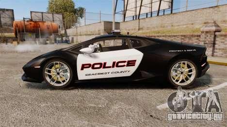 Lamborghini Huracan Cop [Non-ELS] для GTA 4 вид слева