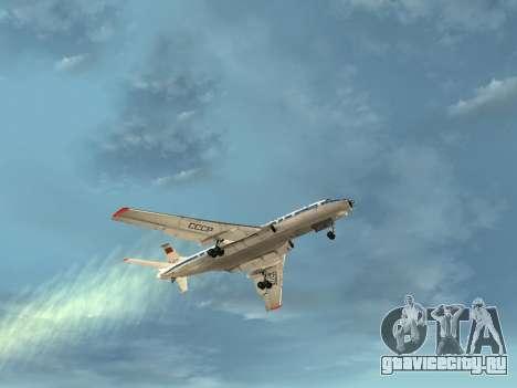 Ту-104А для GTA San Andreas вид снизу