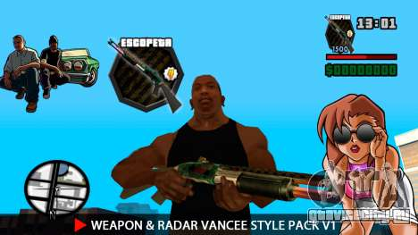 Оружие и радар VanCee Style Pack v1 для GTA San Andreas пятый скриншот