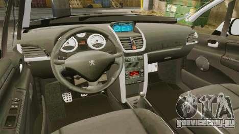 Peugeot 207 RC для GTA 4 вид изнутри