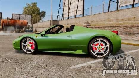 Ferrari 458 Spider Speciale для GTA 4 вид слева