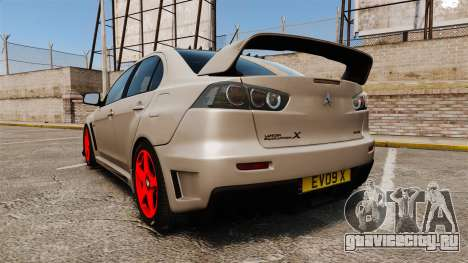 Mitsubishi Lancer Evolution X FQ400 для GTA 4 вид сзади слева