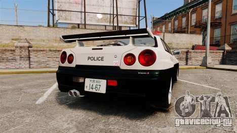 Nissan Skyline GT-R R34 Saitama Police для GTA 4 вид сзади слева
