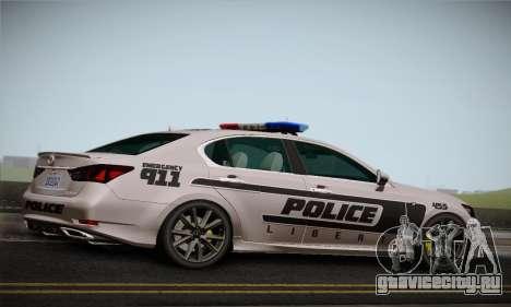 Lexus GS350 F Sport Series IV Police 2013 для GTA San Andreas вид справа