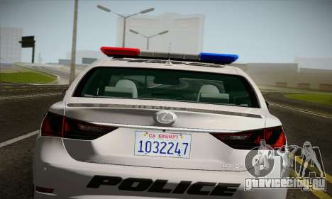 Lexus GS350 F Sport Series IV Police 2013 для GTA San Andreas вид сзади