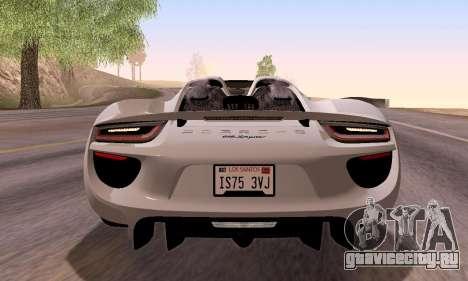 Porsche 918 2013 для GTA San Andreas вид сбоку