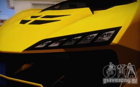 Zentorno из GTA 5 для GTA San Andreas вид изнутри