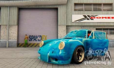 Porsche 911 Blue Star для GTA San Andreas вид изнутри