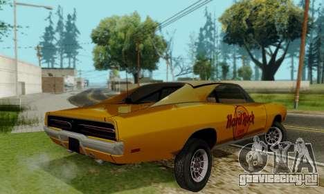 Dodge Charger 1969 Hard Rock Cafe для GTA San Andreas вид сзади