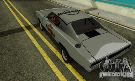 Dodge Charger 1969 Hard Rock Cafe для GTA San Andreas вид сзади слева