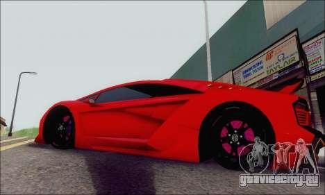 Zentorno GTA 5 V.1 для GTA San Andreas вид изнутри