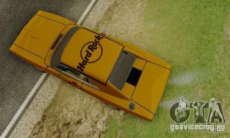 Dodge Charger 1969 Hard Rock Cafe для GTA San Andreas вид изнутри