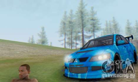 Mitsubishi Lancer Evolution IIIX Blue Star для GTA San Andreas вид сзади слева