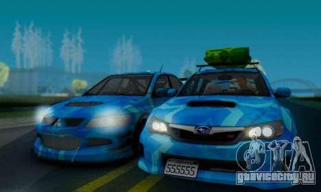 Subaru Impreza Blue Star для GTA San Andreas вид сзади слева