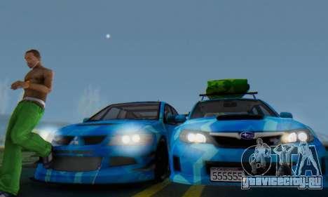 Subaru Impreza Blue Star для GTA San Andreas вид изнутри