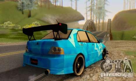Mitsubishi Lancer Evolution IIIX Blue Star для GTA San Andreas вид сзади
