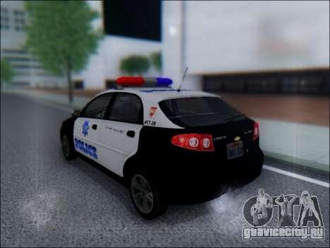 Chevrolet Lacetti Police для GTA San Andreas вид сзади слева