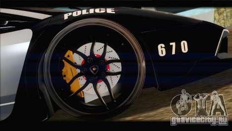 Lamborghini Murcielago LP670 SV Police для GTA San Andreas вид изнутри