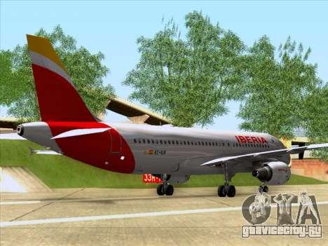 Airbus A320-214 Iberia для GTA San Andreas вид сзади слева