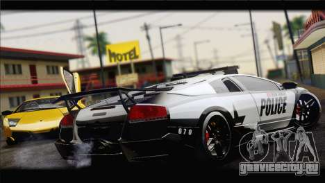 Lamborghini Murcielago LP670 SV Police для GTA San Andreas вид сзади слева