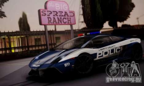 Lamborghini Gallardo LP 570-4 2011 Police v2 для GTA San Andreas вид изнутри