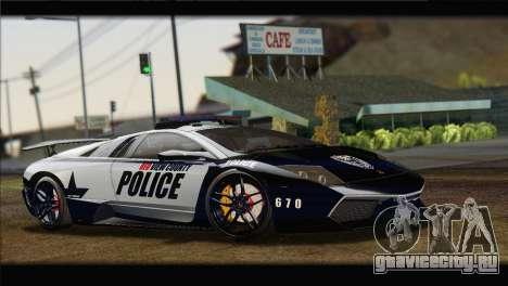 Lamborghini Murcielago LP670 SV Police для GTA San Andreas вид справа