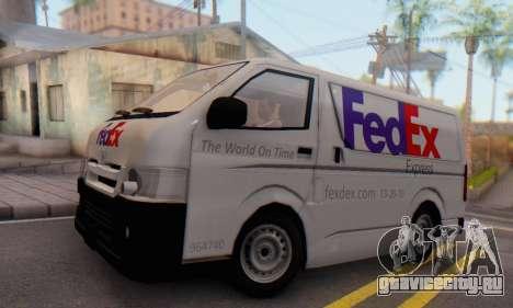 Toyota Hiace FedEx Cargo Van 2006 для GTA San Andreas вид сзади слева