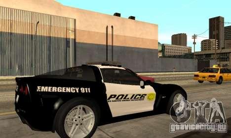 Chevrolet Corvette Z06 Los Santos Sheriff Dept для GTA San Andreas вид слева
