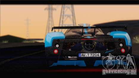 Pagani Zonda UNO для GTA San Andreas вид сзади слева