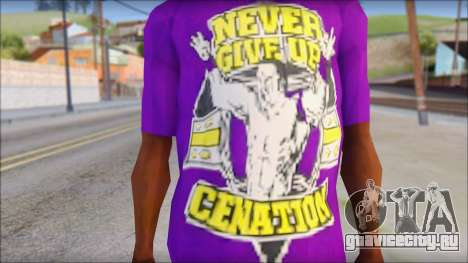 John Cena Purple T-Shirt для GTA San Andreas третий скриншот